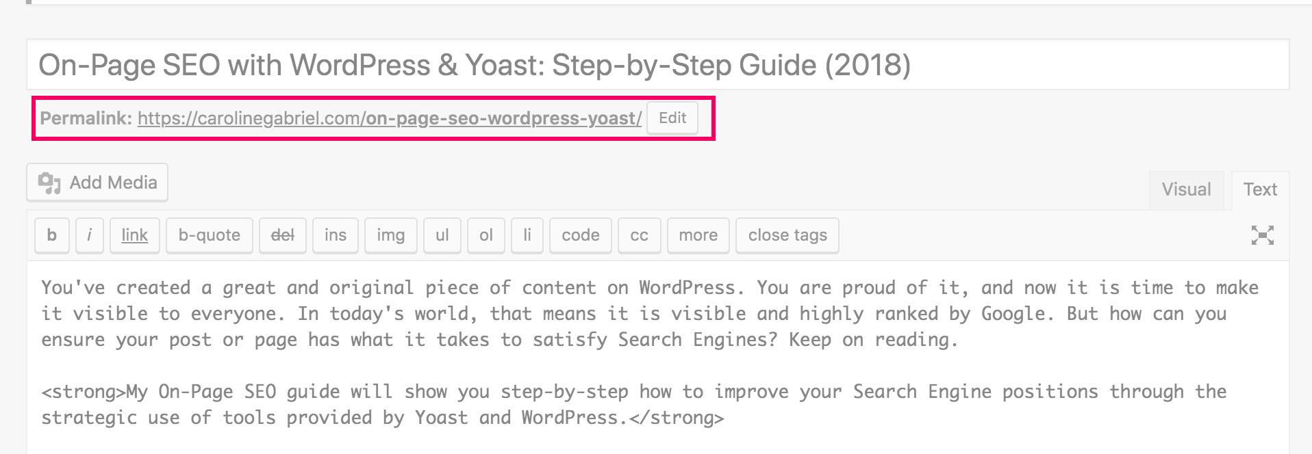 On-Page SEO URL: WordPress Permalink