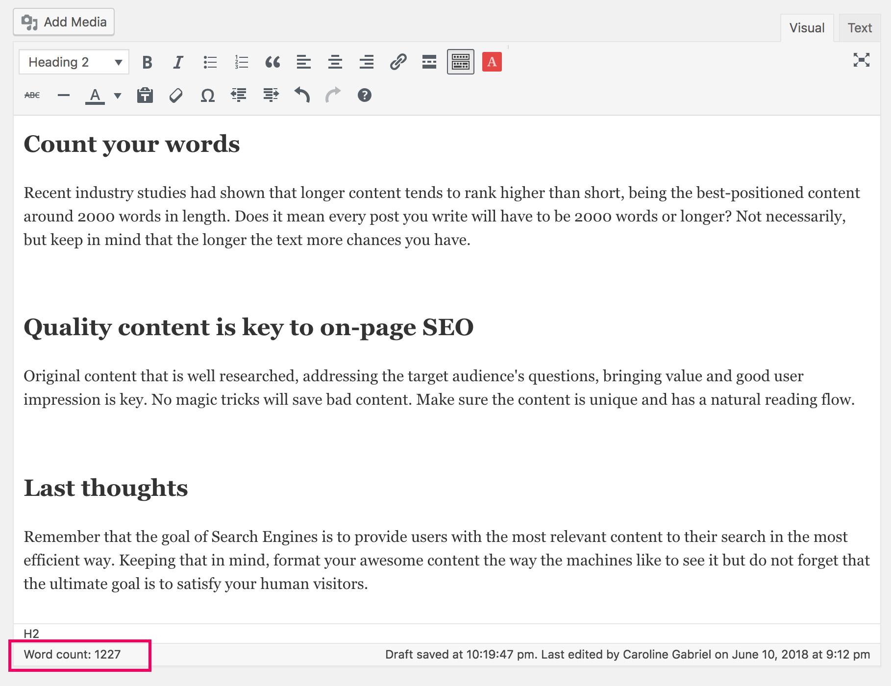 On-Page SEO WordPress Word Count